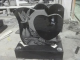 Black Heart Headstone With Black
